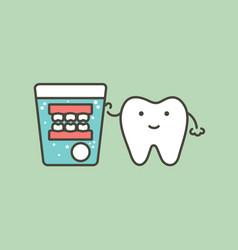 denture cleaning - false teeth in water glass vector image