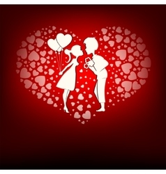 Design a set of hearts boy and girl vector image