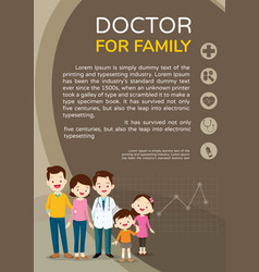 doctor and cute family background poster portrait vector image