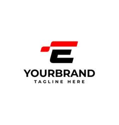 E logo with abstract checkered flag racing logo vector