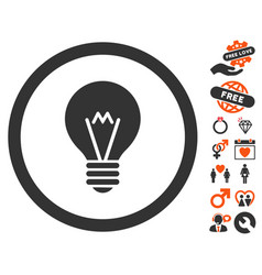 electric bulb icon with lovely bonus vector image
