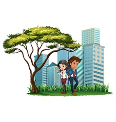 Employees under the tree vector