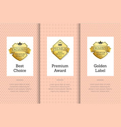 exclusive and premium quality golden labels set vector image