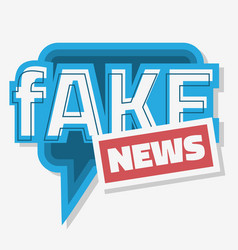 fake news typographic design with speech bubble vector image