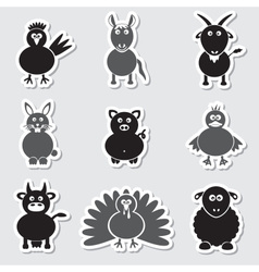 farm animals simple stickers set eps10 vector image