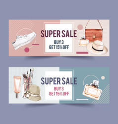 Fashion banner design with accessories vector