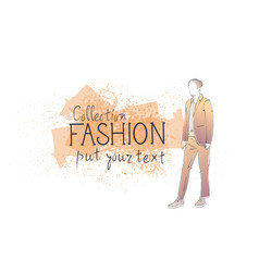 Fashion collection clothes male model wearing vector