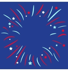 Fireworks ball Star and strip Blue background vector image