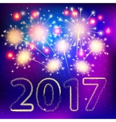Fireworks for happy new year 2017 vector