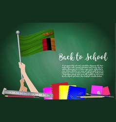 Flag of zambia on black chalkboard background vector