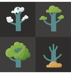 Flat icon of a tree in different seasons vector image