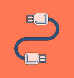 flat icon on background usb cable vector image