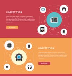 Flat icons datacenter controller earphones and vector