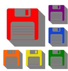 floppy disk sign set of red orange yellow vector image