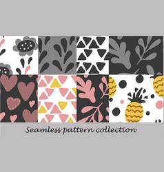 Floral seamless background set vector