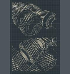 Gearbox blueprints vector