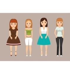Girls teenagers cartoons design vector image