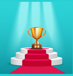 golden trophy cup stand on round award pedestal vector image