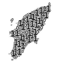 greek rhodes island map mosaic of binary digits vector image