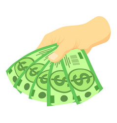 green dollars in hand icon isometric style vector image