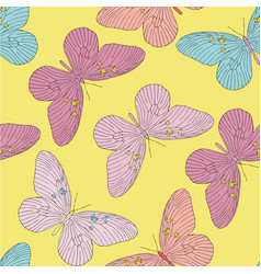 Hand drawn butterfly seamless pattern vector