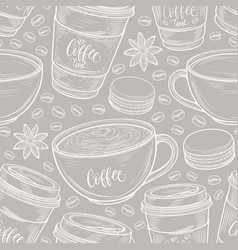 hand drawn seamless pattern with coffee cups vector image