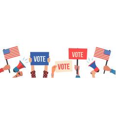 hands holding vote blanksplacards tablets vector image