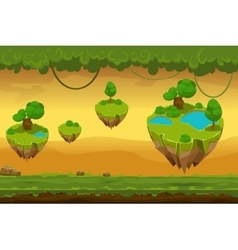 Horizontal seamless cartoon fantastic forest vector image