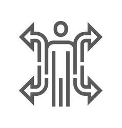 Human resource line icon career vector