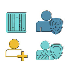 human sign icon set color outline style vector image