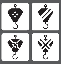 icons set with hooks from the crane vector image