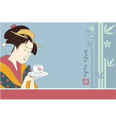 Japanese Geisha - Traditional Art Style vector image