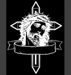 Jesus christ head art design in black vector