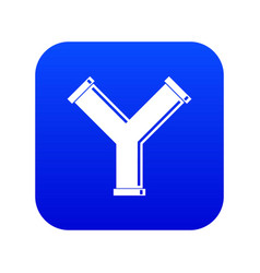 Joint pipe in form y letter icon digital blue vector