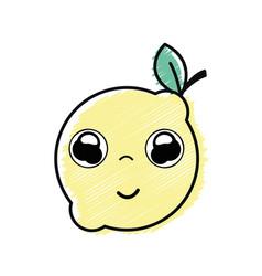 Kawaii nice happy lemon fruit vector