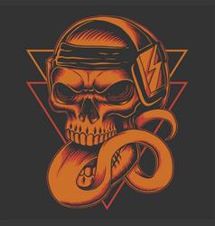 long tongued skull headphone vector image