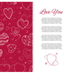 love you background or card with doodle hearts vector image