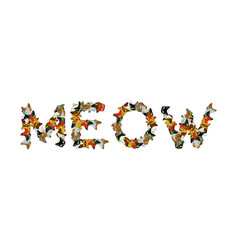 Meow sign text letters of cats pet font home vector