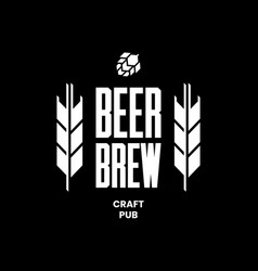 Modern craft beer drink logo sign for bar pub vector