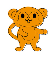 Monkey cute animal cartoon icon image vector