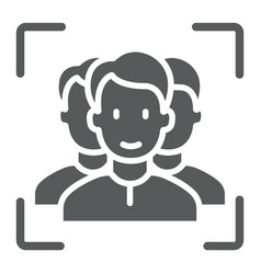 Multi face id glyph icon face recognition vector