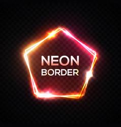 neon frame pentagon shape pink yellow template vector image