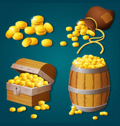 Old wooden chest barrel old bag with gold coins vector