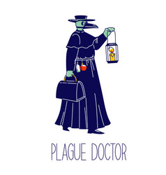 Plague doctor character with crow beak mask vector