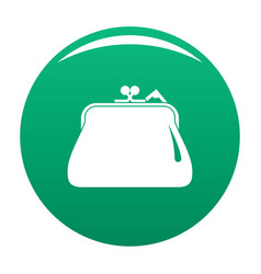 Purse retro icon green vector