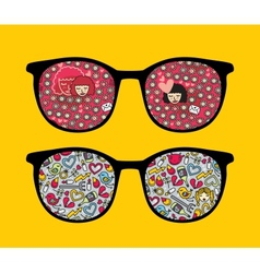 Retro sunglasses with girls reflection in it vector