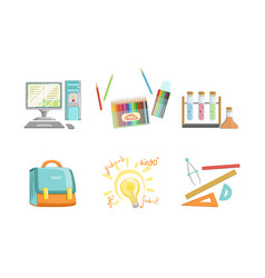 school supplies set computer crayons test tubes vector image