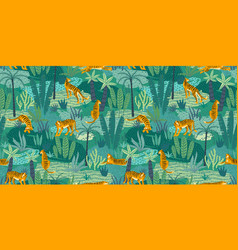 Seamless exotic pattern with tigers in jungle vector