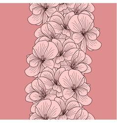 Seamless geranium flowers border vector image
