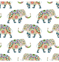 seamless pattern colorful elephants vector image